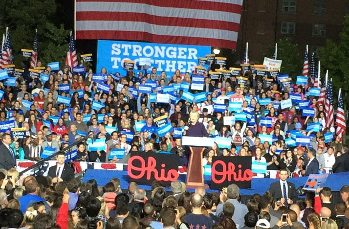 Hillary Clinton at campaign rally on Ohio State University campus