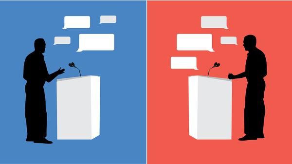Debate fact checking graphic