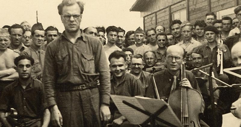 A prisoner orchestra at Stalag VIIIA, with Ferdinand Carrion, a Belgian musician and prisoner.