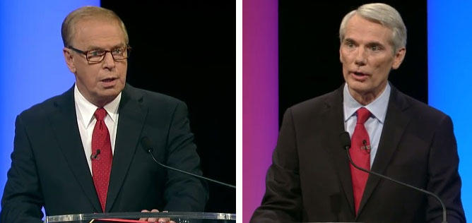Former Ohio Gov. Ted Strickland (left) and U.S. Senator Rob Portman (right) debate for the third and final debate for the U.S. Sentate seat in Cleveland last night