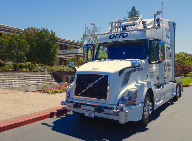 One of the self-driving semitrucks from Uber's Otto