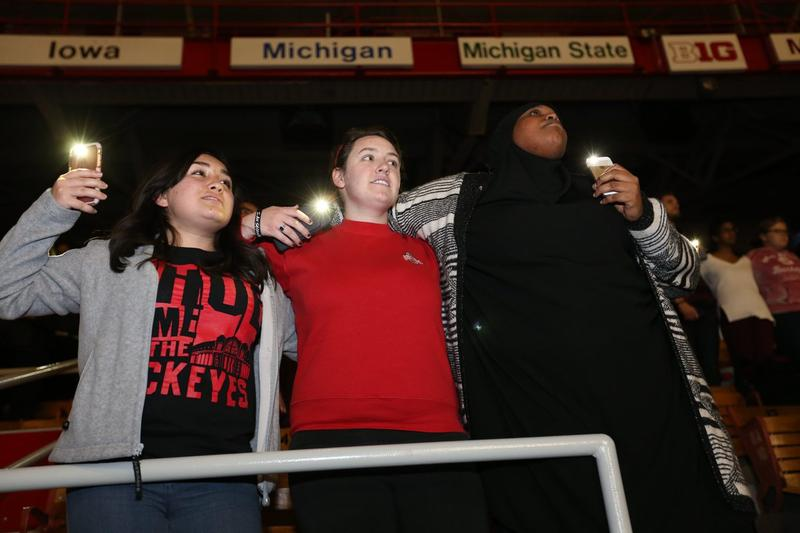 Ohio State students and community members gathered for a vigil and messages of support at St. John Arena on Tuesday night.