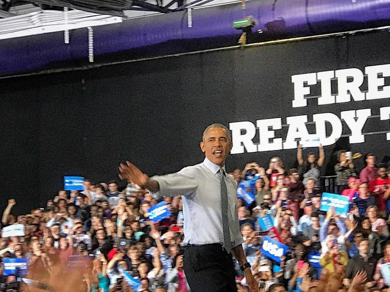 President Barak Obama campaigned for Hillary Clinton at Capital University in Columbus on Tuesday, November 1, 2016.
