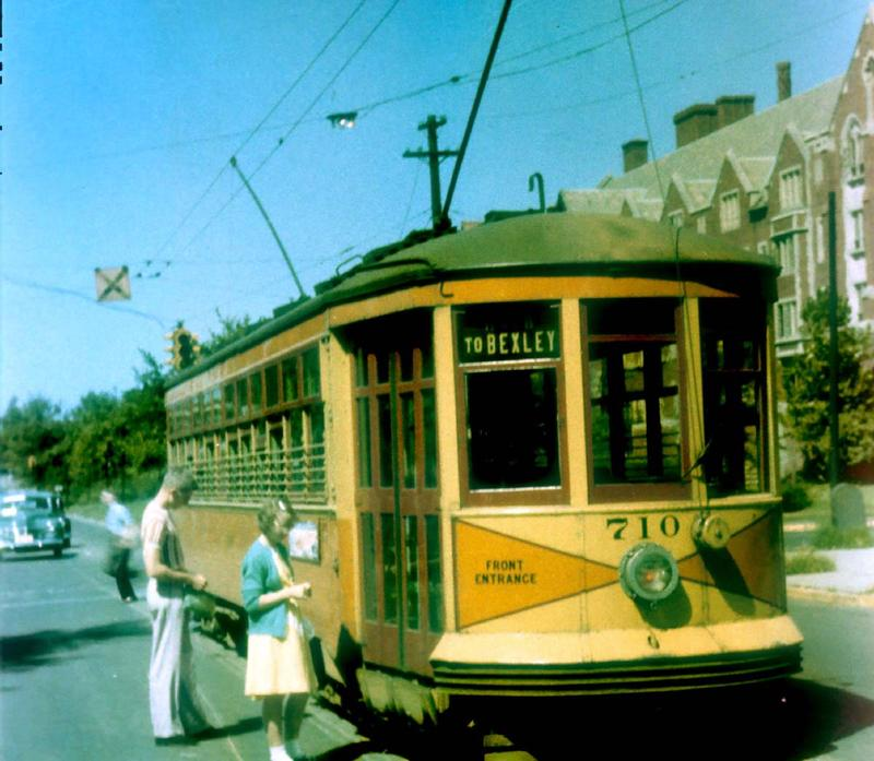 Riders get on a streetcar near Ohio State University in August 1948.