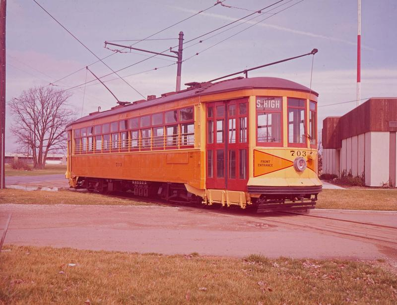 Car 703 was one of the last new streetcars purchased by the Columbus Railway, Power & Light Company.