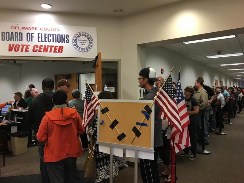 Voters line up at the early voting center in Delaware County.