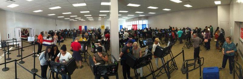 Voters fill the Franklin County Early Voting Center in Columbus.