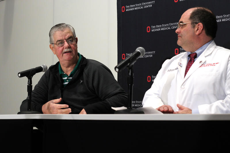 Ohio State professor William Clark, left, talked in a press conference Tuesday about being injured in Monday's attack on campus.