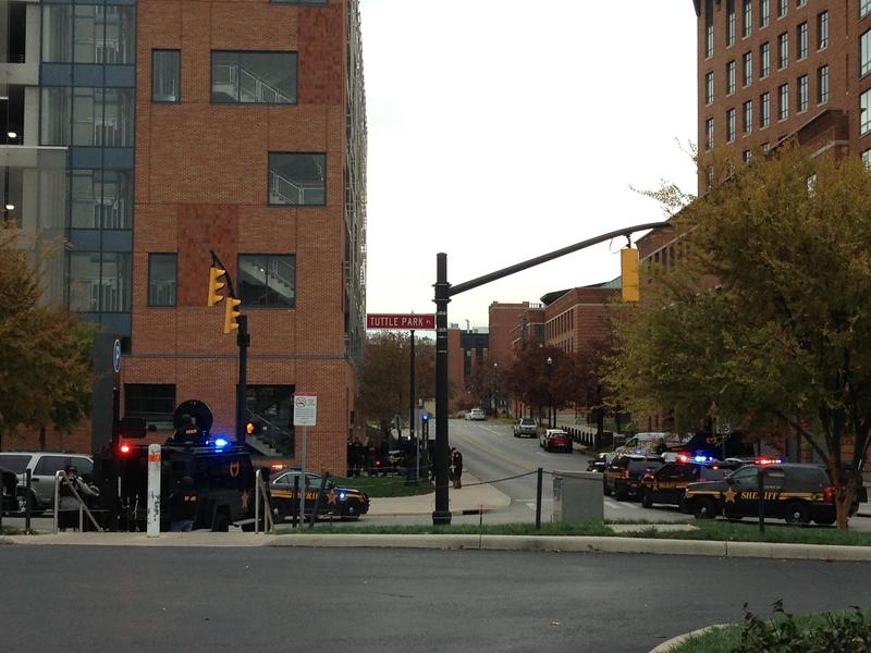 Police shut down the parking garage near Tuttle Park Place after an active shooter report was issued on Ohio State's campus.