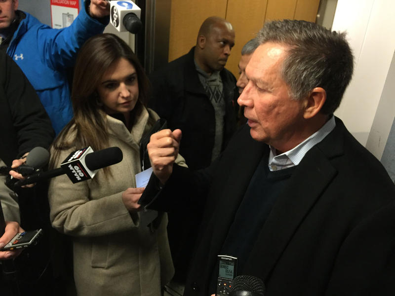 Gov. John Kasich discusses the use of Ohio rainy-day fund with a drop in state revenue.