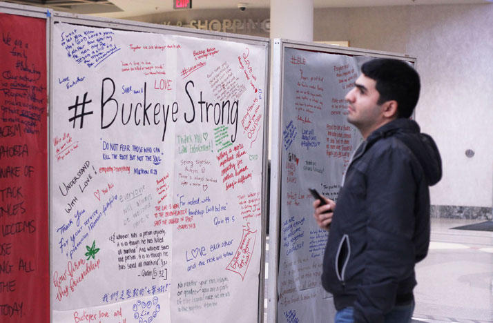 Messages of support and solidarity have been left by passerby at the Ohio State University student union after Monday's attack.
