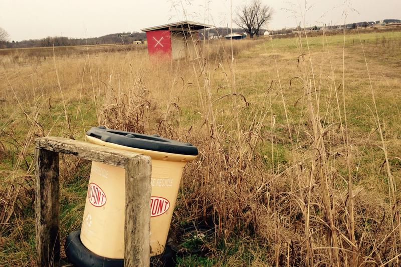 Dupont container in a field