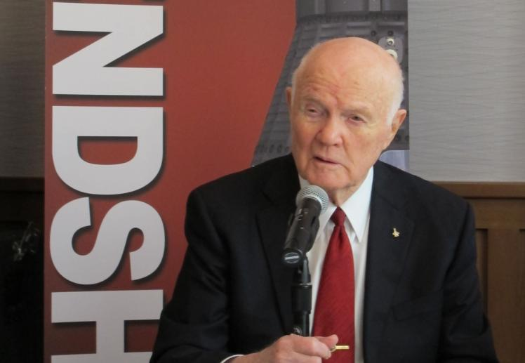 John Glenn speaks to reporters on the 50th anniversary of his historic flight into orbit.
