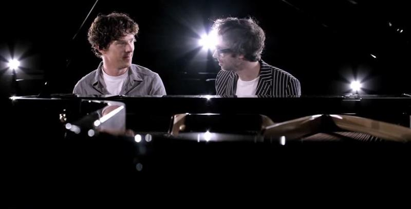 colorphoto of Benedict Cumberbatch and James Rhodes sitting at a grand piano