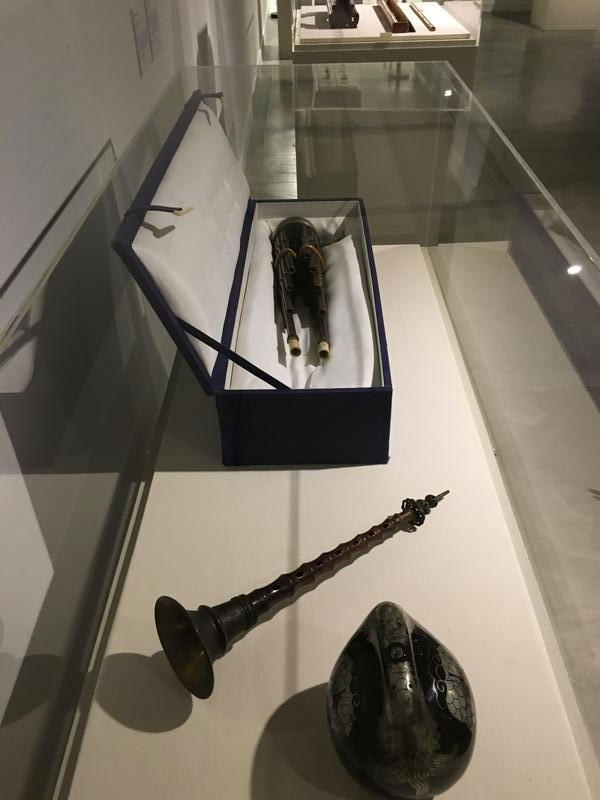 Some of the traditional Chinese musical instruments on display in the Legacy of Imperial Beijing: The Bliss M. and Mildred A. Wiant Collection of Chinese Art exhibition at OSU's Urban Arts Space.