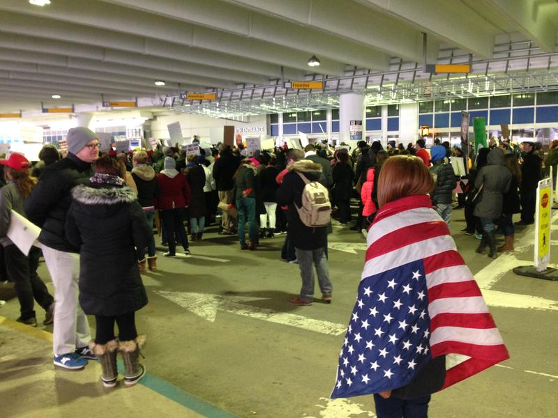 More than 600 protesters gathered on Sunday at the John Glenn International Airport.