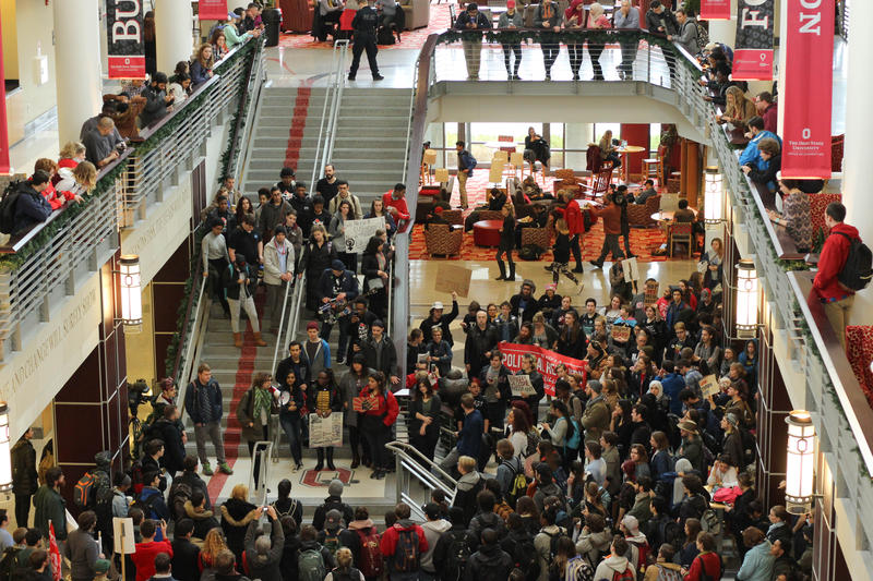 Hundreds of Ohio State students walked out of classes and gathered in the student union on Friday to protest the inauguration of President Donald Trump.