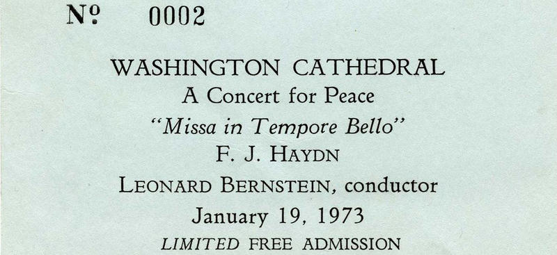 photo of ticket stub from 1973 Washington Cathedral concert, conducted by Leonard Bernstein