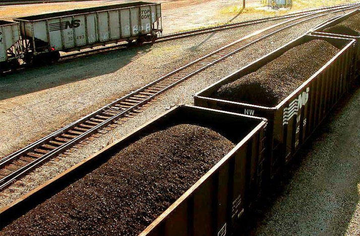 Coal in railroad cars