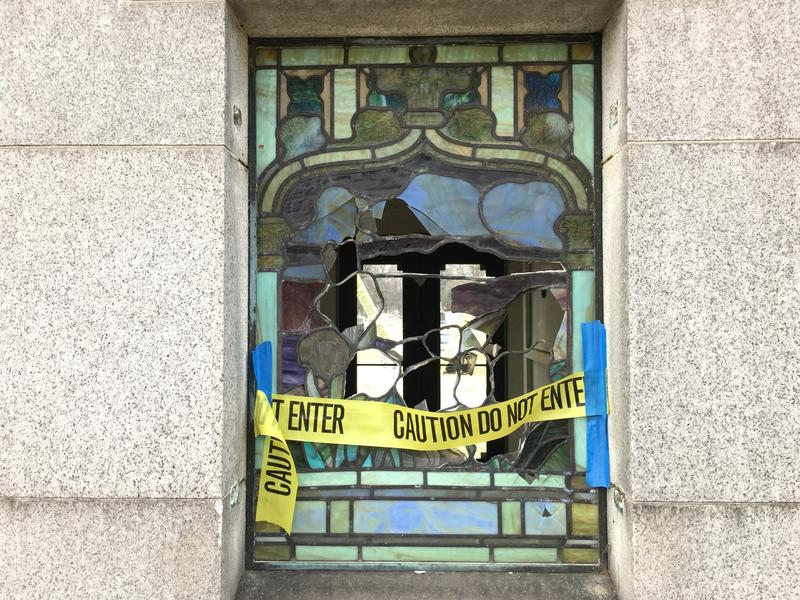 Broken stained glass, caused by unknown vandals, in the Field family mausoleum will cost about $3,500 to repair.