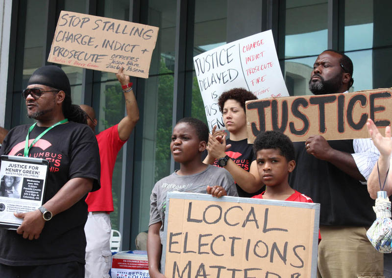 Protestors gathered last summer outside the steps of the Franklin County courthouse.