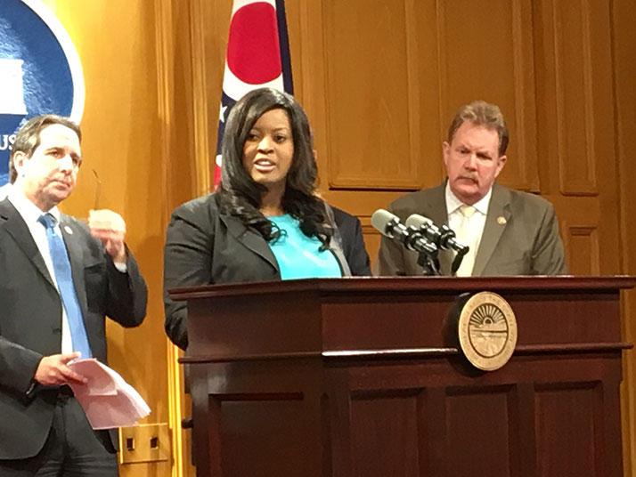 Rep. Alicia Reece (D-Cincinnati) speaking at the Ohio Statehouse