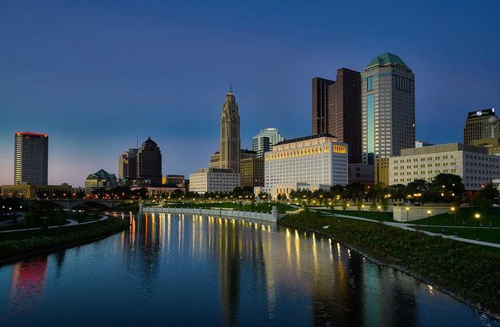 Columbus skyline at dusk