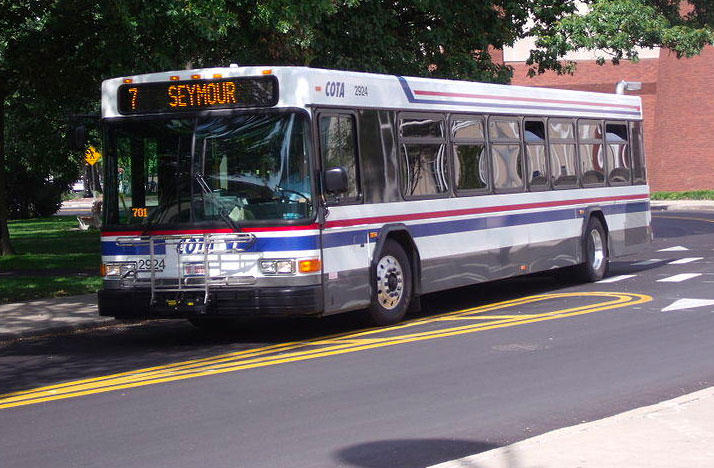 COTA bus on Ohio State's campus.