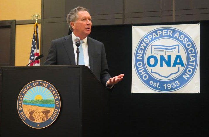 Ohio Gov. John Kasich speaks to editors and publishers at the Ohio Newspaper Association meeting.