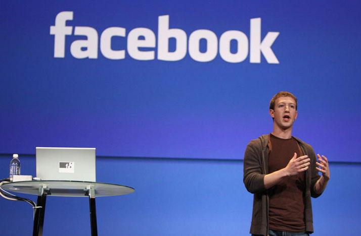 Mark Zuckerberg speaking at Facebook event.