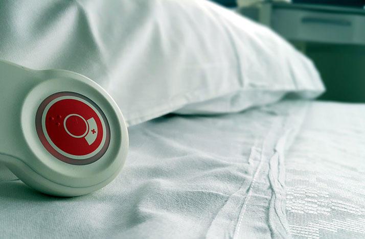 Nurse call button on a hospital bed