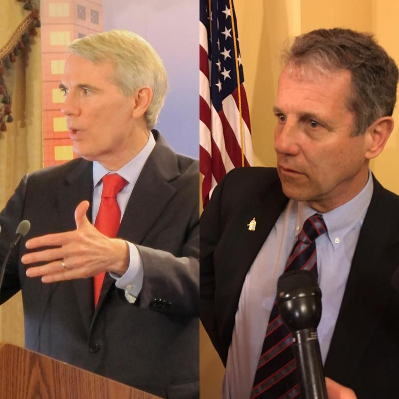 Republican Senator Rob Portman (left) and Democratic Senator Sherrod Brown both agreed that President Trump's travel ban has problems.