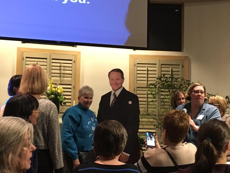 Constituents of District 12 posed with a cardboard cutout of Pat Tiberi when he didn't show to a town hall.