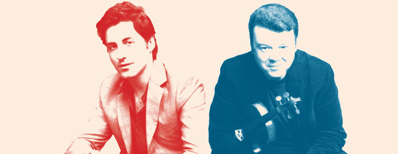 Red and blue photo of violinists Vadim Gluzman and Philippe Quint