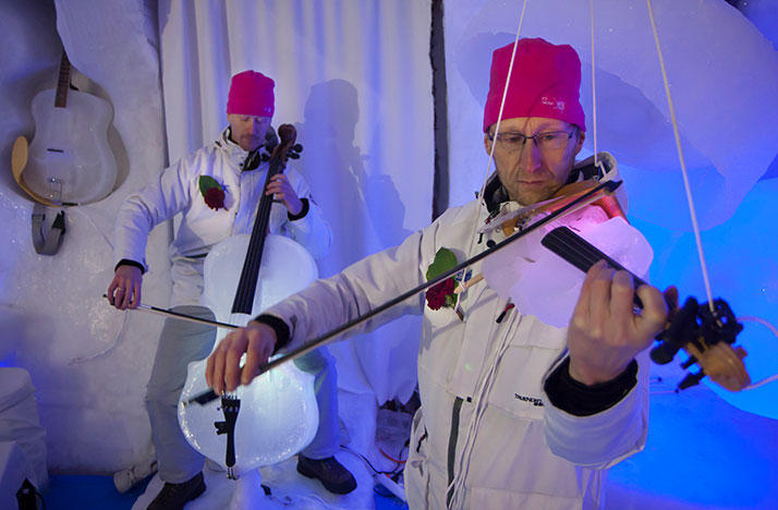Musical instruments made out of ice played at the Ice Music festival in Sweden.