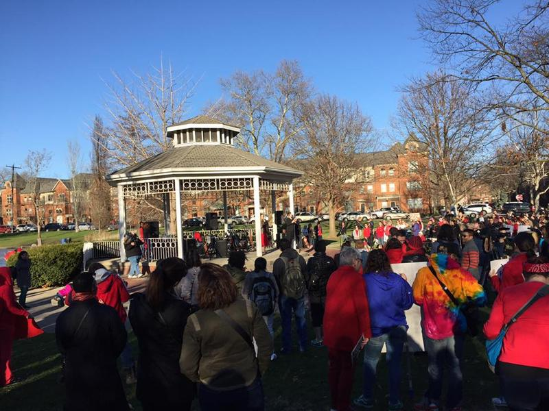 Marchers gathered at Goodale park for a rally for International Women's Day.