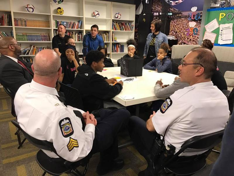 Officers with Columbus Police meet with members of the Boys and Girls Club for a teen-led dialog on law enforcement.