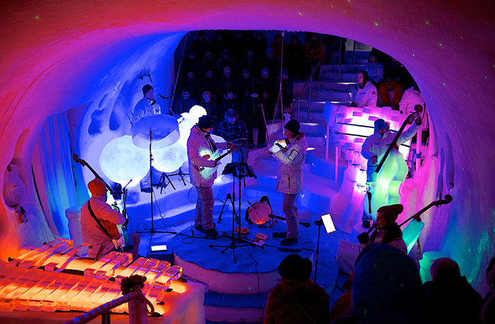 A performance at the Ice Music Festival in Sweden consisting of musical instuments made out of ice.