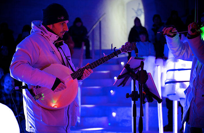 A banjo made of ice is played at the Ice Music Festival in Sweden.