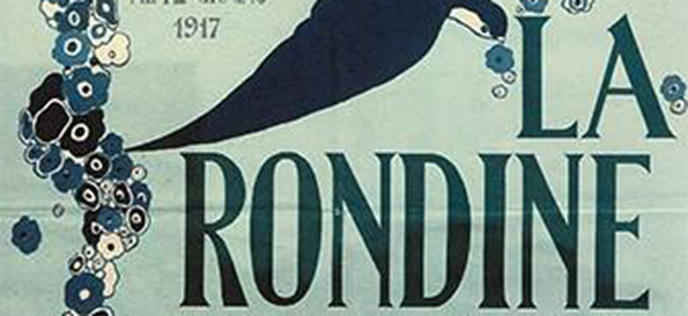 Poster for the Italian premiere of La Rondine, in part