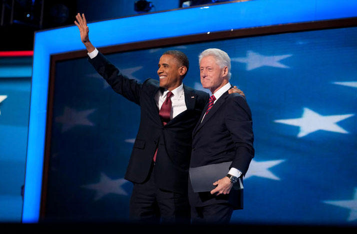 Former Presidents Barack Obama and Bill Clinton at the DNC Convention in Charlotte, NC on September 5, 2012.