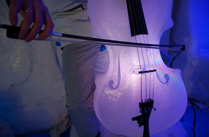 A cello made out of ice.