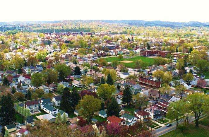 Aerial view of Lancaster, Ohio