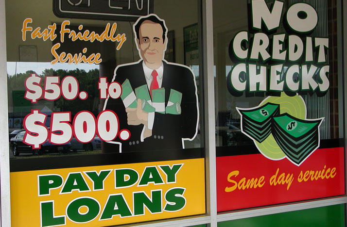 Payday loans store window