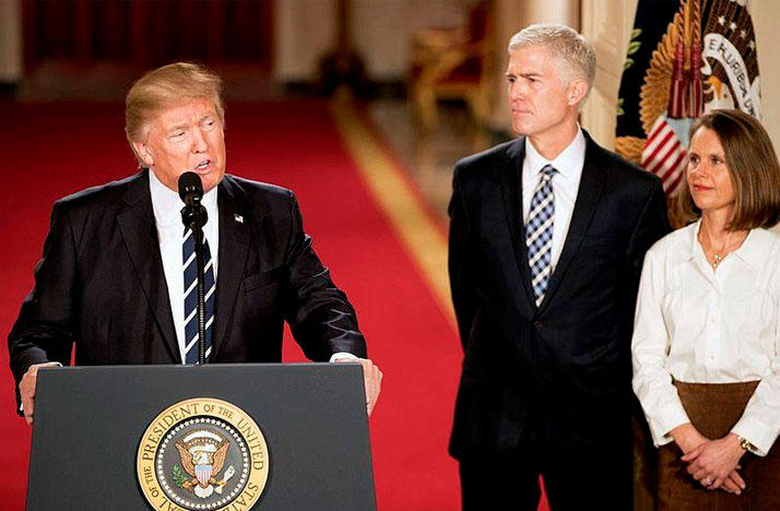 President Donald Trump announcing Judge Neil Gorsuch as his Supreme Court nominee at the White House on January 31st, 2017.