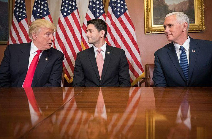 House Speaker Paul Ryan meets with the President and Vice Presidents-elect, Donald Trump and Gov. Mike Pence on Capitol Hill on Nov. 10, 2016.