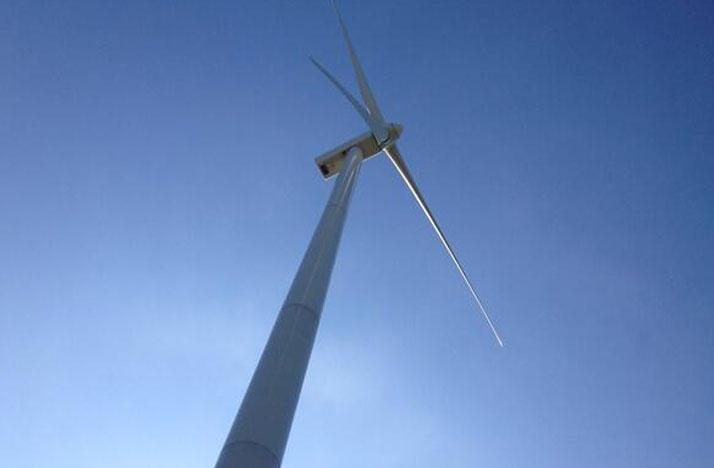 A wind turbine at Blue Creek Wind Farm in Van Wert County.
