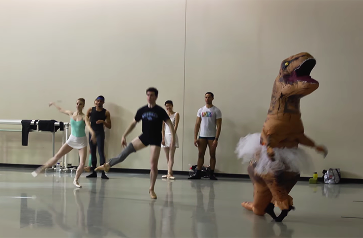 A T-rex dancing with the Cincinnati Ballet
