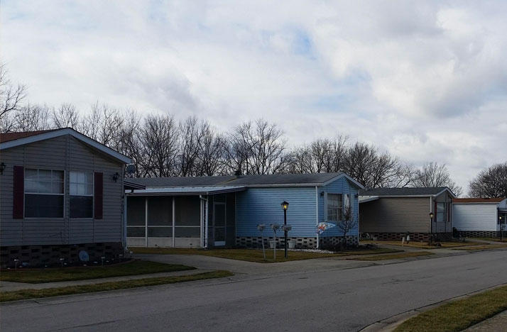 Mobile homes at Enchanted Acres on South Parsons Avenue.