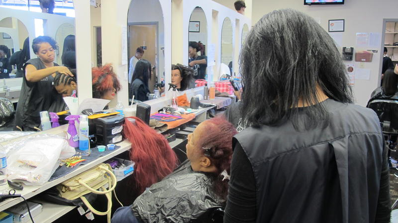 Students at New Directions Beauty Institute in Columbus work on and get licensed to do natural black hair.